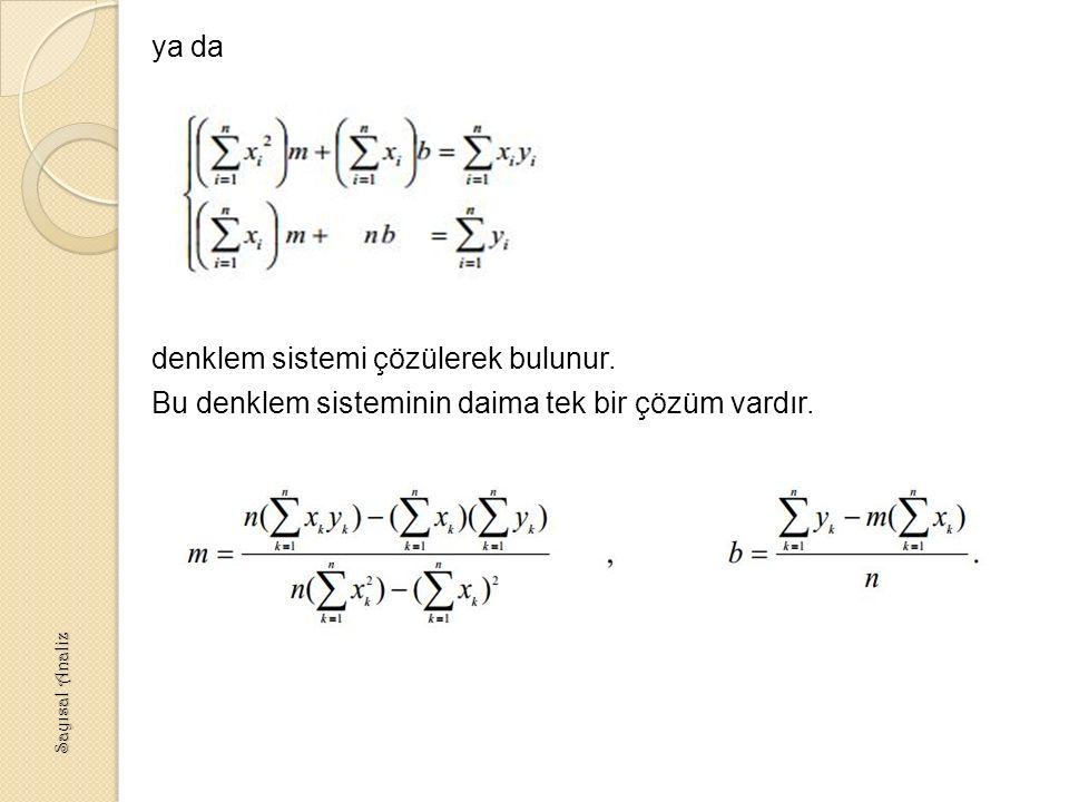 ya da denklem sistemi çözülerek bulunur.Bu denklem sisteminin daima tek bir çözüm vardır.