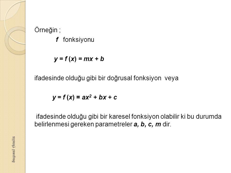 Örneğin ; f fonksiyonu y = f (x) = mx + b ifadesinde olduğu gibi bir doğrusal fonksiyon veya y = f (x) = ax 2 + bx + c ifadesinde olduğu gibi bir karesel fonksiyon olabilir ki bu durumda belirlenmesi gereken parametreler a, b, c, m dir.