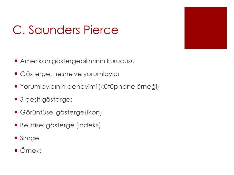 C. Saunders Pierce  Amerikan göstergebiliminin kurucusu  Gösterge, nesne ve yorumlayıcı  Yorumlayıcının deneyimi (kütüphane örneği)  3 çeşit göste