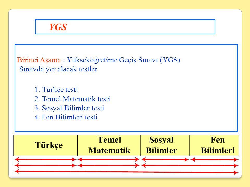 Birinci Aşama : Yükseköğretime Geçiş Sınavı (YGS) Sınavda yer alacak testler 1.