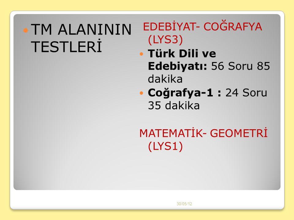 TM ALANININ TESTLERİ EDEBİYAT- COĞRAFYA (LYS3) Türk Dili ve Edebiyatı: 56 Soru 85 dakika Coğrafya-1 : 24 Soru 35 dakika MATEMATİK- GEOMETRİ (LYS1) 30/05/12