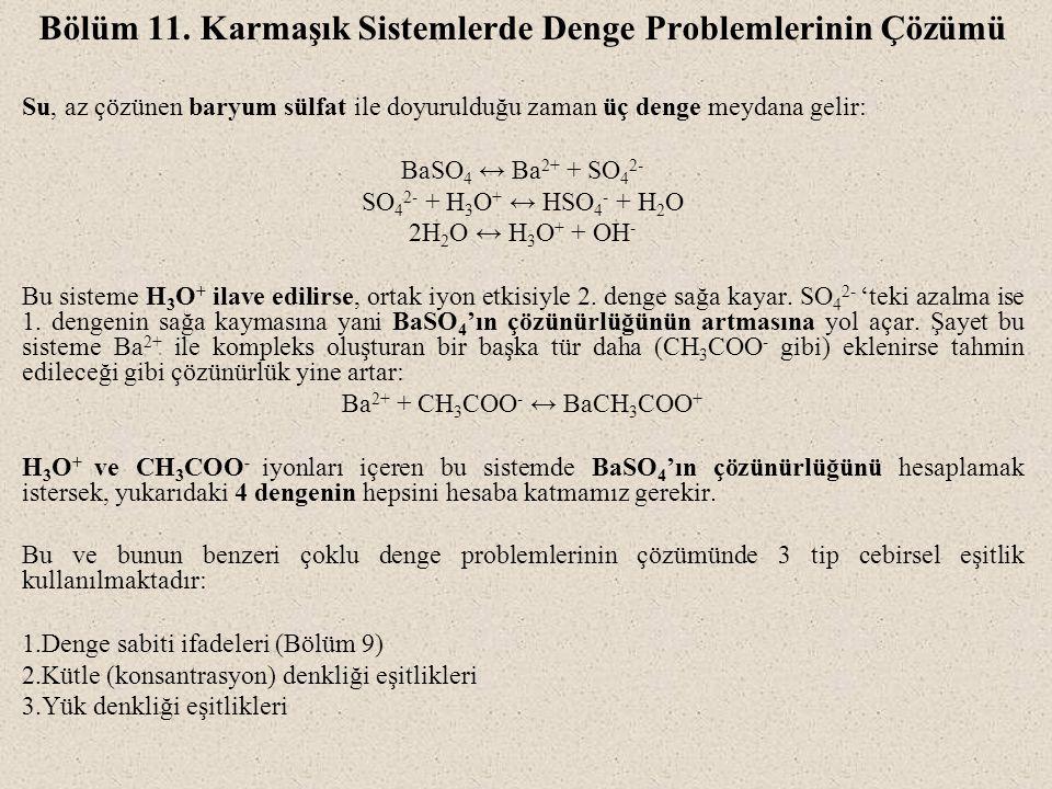Bölüm 11. Karmaşık Sistemlerde Denge Problemlerinin Çözümü Su, az çözünen baryum sülfat ile doyurulduğu zaman üç denge meydana gelir: BaSO 4 ↔ Ba 2+ +