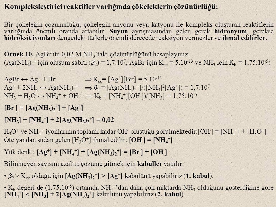Kompleksleştirici reaktifler varlığında çökeleklerin çözünürlüğü: Bir çökeleğin çözünürlüğü, çökeleğin anyonu veya katyonu ile kompleks oluşturan reak