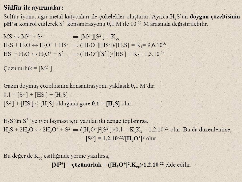 Sülfür ile ayırmalar: Sülfür iyonu, ağır metal katyonları ile çökelekler oluşturur. Ayrıca H 2 S'ün doygun çözeltisinin pH'sı kontrol edilerek S 2- ko