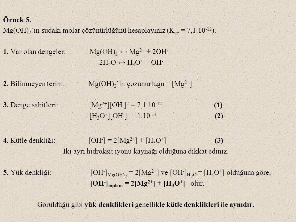 Örnek 5. Mg(OH) 2 'in sudaki molar çözünürlüğünü hesaplayınız (K çç = 7,1.10 -12 ). 1. Var olan dengeler: Mg(OH) 2 ↔ Mg 2+ + 2OH - 2H 2 O ↔ H 3 O + +