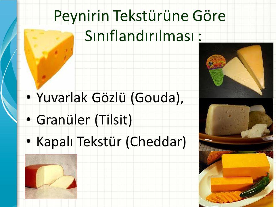 Peynirin Tekstürüne Göre Sınıflandırılması : Yuvarlak Gözlü (Gouda), Granüler (Tilsit) Kapalı Tekstür (Cheddar)
