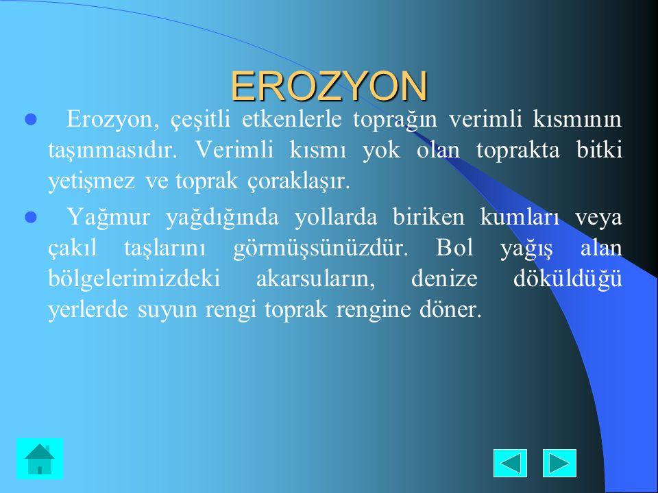 EROZYON Erozyon, çeşitli etkenlerle toprağın verimli kısmının taşınmasıdır. Verimli kısmı yok olan toprakta bitki yetişmez ve toprak çoraklaşır. Yağmu
