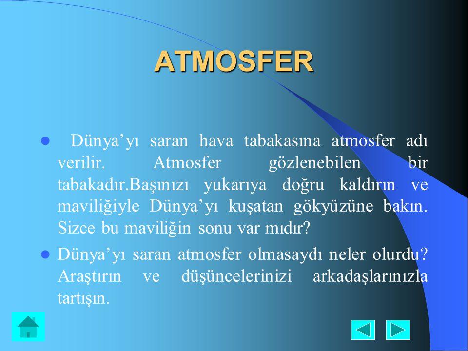 ATMOSFER Dünya'yı saran hava tabakasına atmosfer adı verilir. Atmosfer gözlenebilen bir tabakadır.Başınızı yukarıya doğru kaldırın ve maviliğiyle Düny