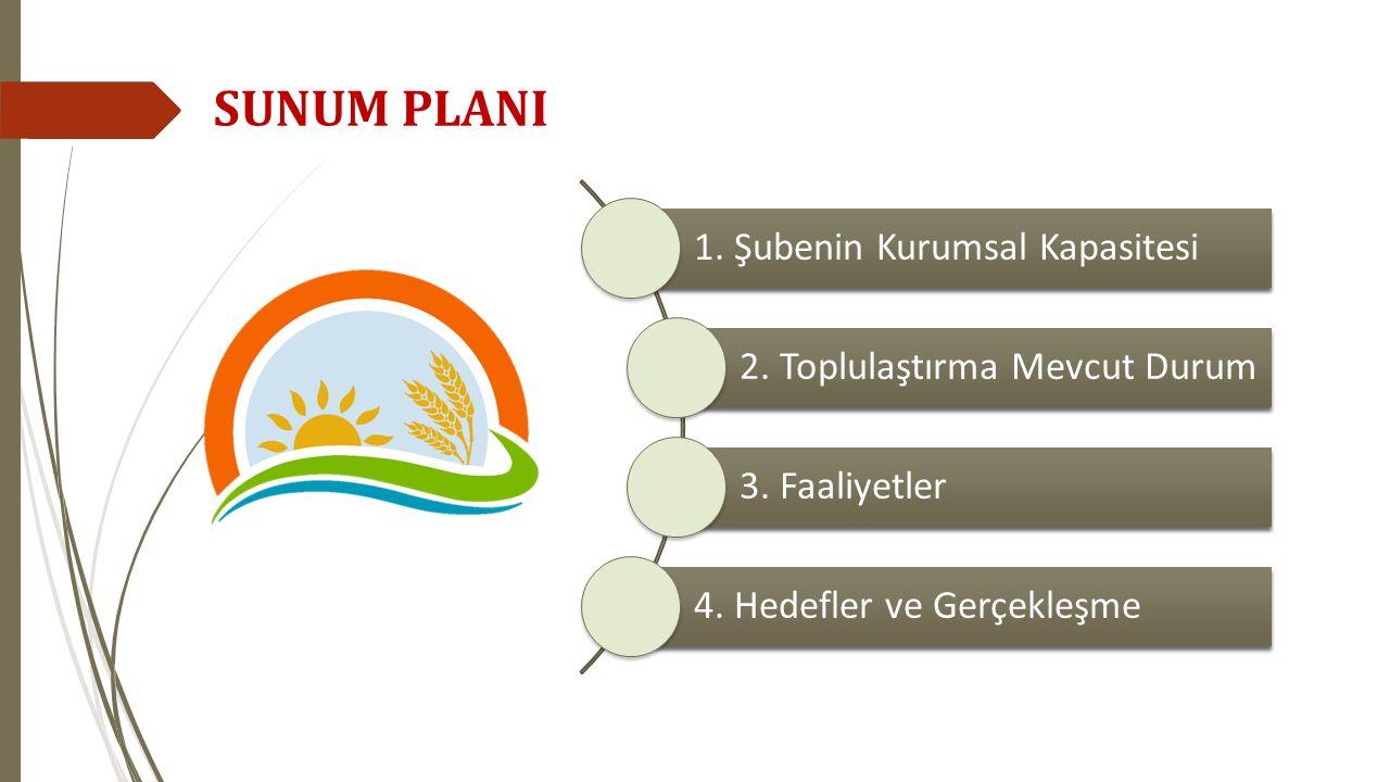 1. Şubenin Kurumsal Kapasitesi 2. Toplulaştırma Mevcut Durum 3. Faaliyetler 4. Hedefler ve Gerçekleşme SUNUM PLANI