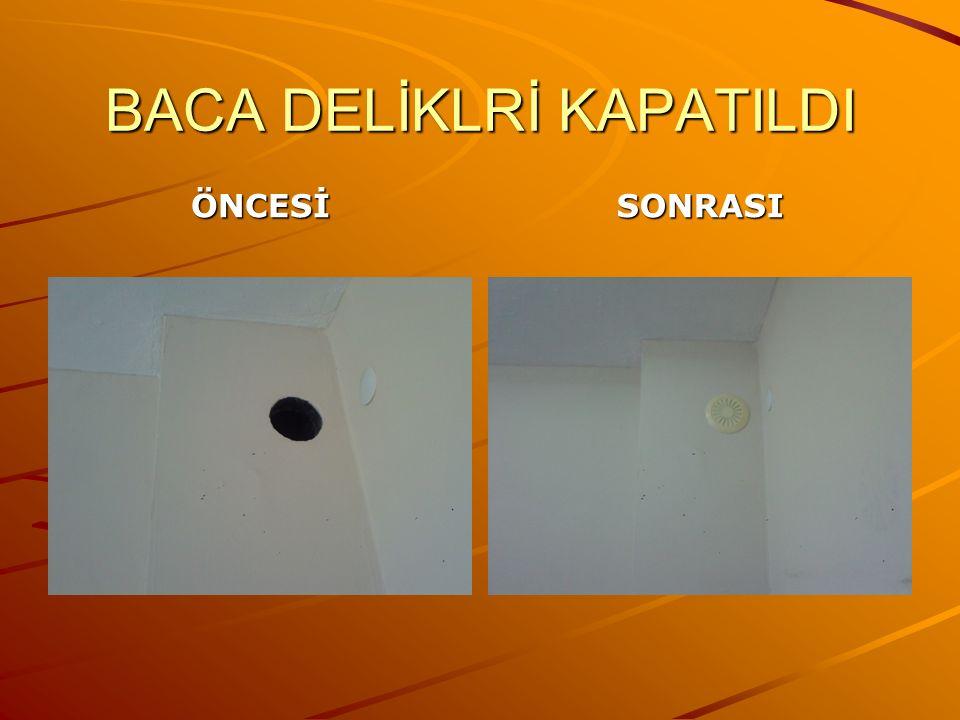 BACA DELİKLRİ KAPATILDI ÖNCESİSONRASI