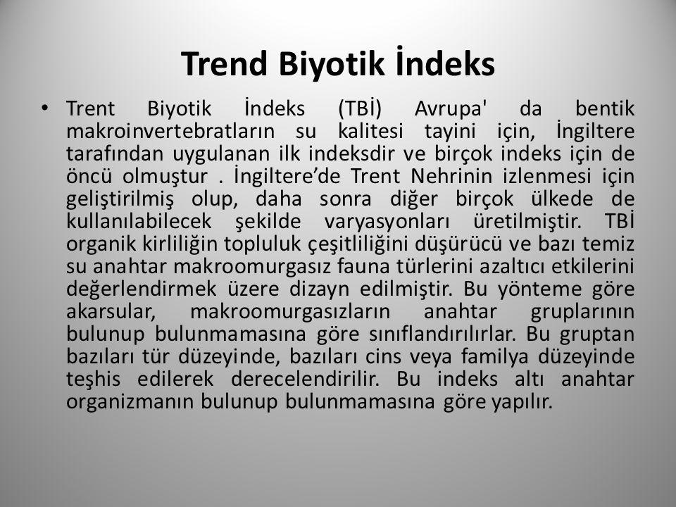 Trend Biyotik İndeks Trent Biyotik İndeks (TBİ) Avrupa da bentik makroinvertebratların su kalitesi tayini için, İngiltere tarafından uygulanan ilk indeksdir ve birçok indeks için de öncü olmuştur.