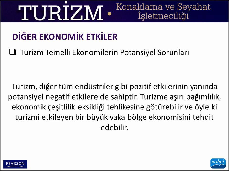 DİĞER EKONOMİK ETKİLER  Turizm Temelli Ekonomilerin Potansiyel Sorunları Turizm, diğer tüm endüstriler gibi pozitif etkilerinin yanında potansiyel ne