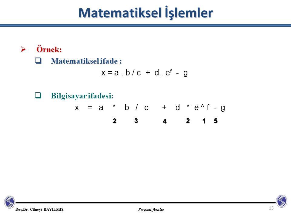 Doç.Dr. Cüneyt BAYILMIŞ Sayısal Analiz Matematiksel İşlemler 13  Örnek:  Matematiksel ifade : x = a. b / c + d. e f - g  Bilgisayar ifadesi: x = a