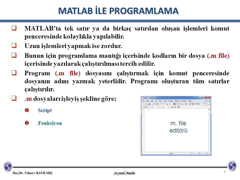 Doç.Dr. Cüneyt BAYILMIŞ Sayısal Analiz 4 MATLAB İLE PROGRAMLAMA  MATLAB'ta tek satır ya da birkaç satırdan oluşan işlemleri komut penceresinde kolayl