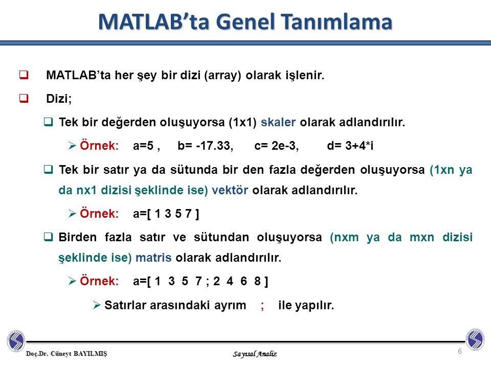 Doç.Dr. Cüneyt BAYILMIŞ Sayısal Analiz MATLAB'ta Genel Tanımlama 6  MATLAB'ta her şey bir dizi (array) olarak işlenir.  Dizi;  Tek bir değerden olu