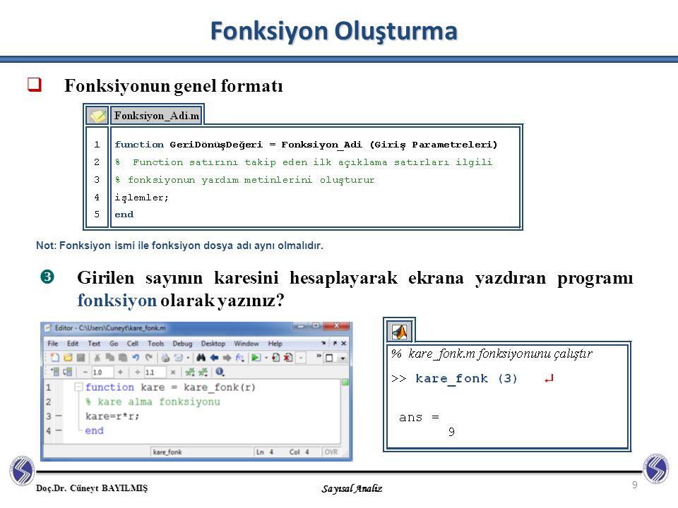 Doç.Dr. Cüneyt BAYILMIŞ Sayısal Analiz 9  Fonksiyonun genel formatı Fonksiyon Oluşturma Not: Fonksiyon ismi ile fonksiyon dosya adı aynı olmalıdır. 