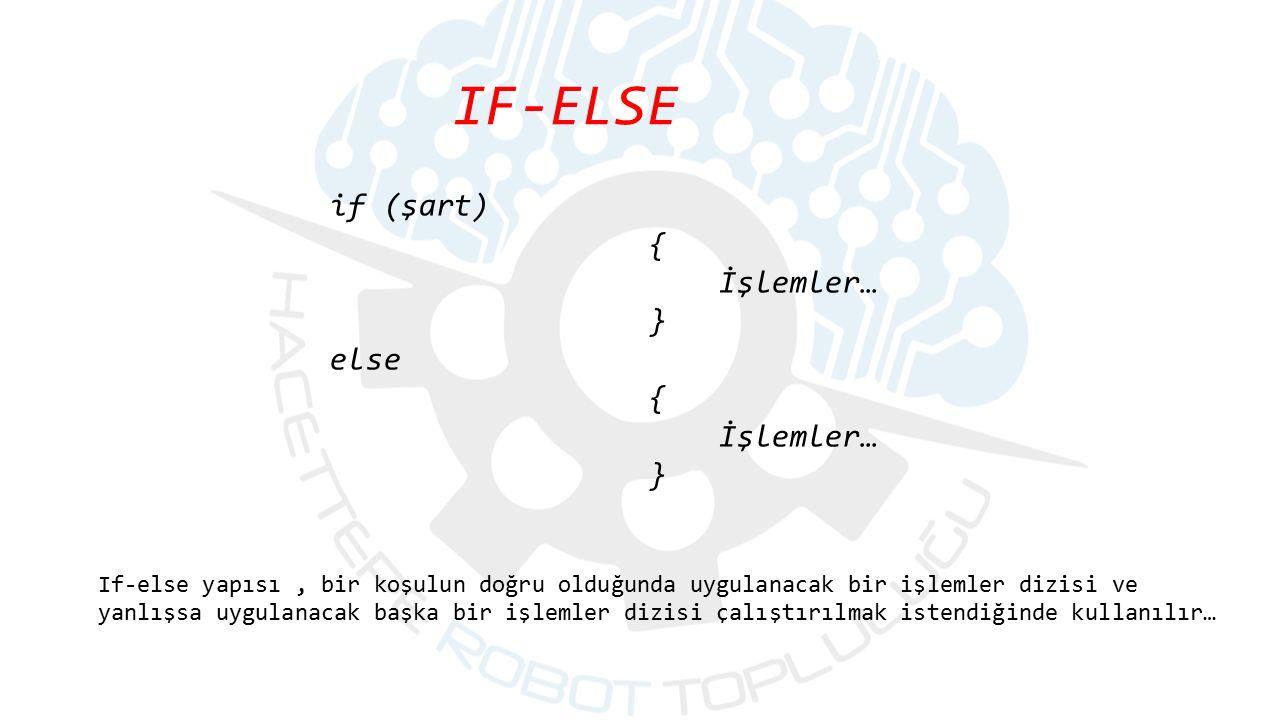 IF-ELSE If-else yapısı, bir koşulun doğru olduğunda uygulanacak bir işlemler dizisi ve yanlışsa uygulanacak başka bir işlemler dizisi çalıştırılmak is