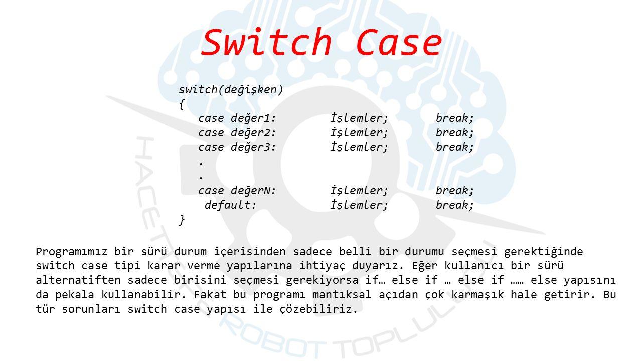 Programımız bir sürü durum içerisinden sadece belli bir durumu seçmesi gerektiğinde switch case tipi karar verme yapılarına ihtiyaç duyarız. Eğer kull