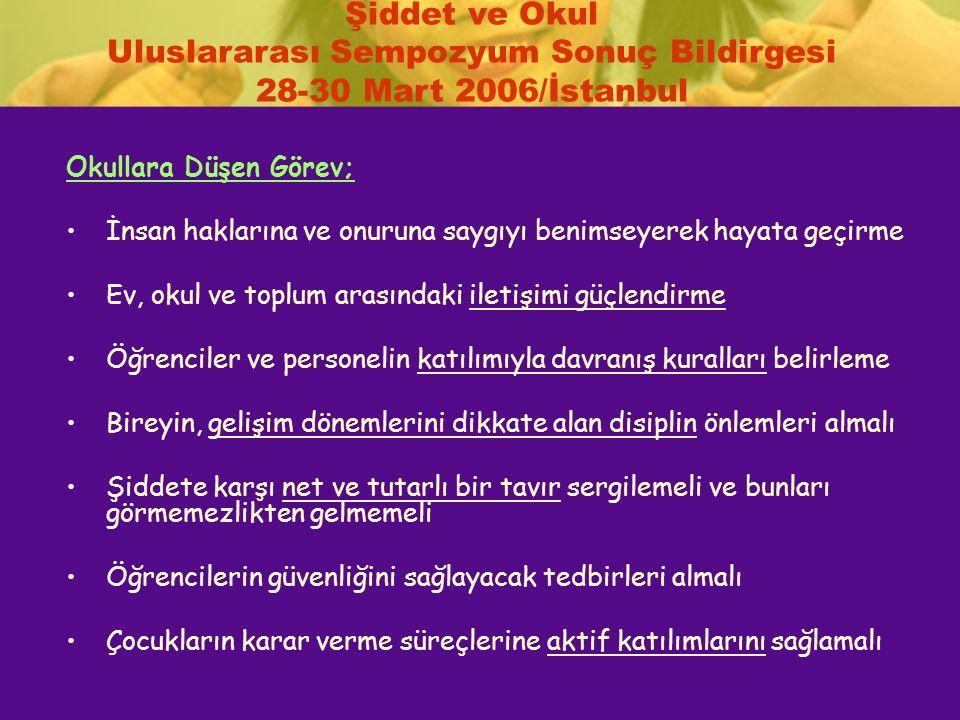 Şiddet ve Okul Uluslararası Sempozyum Sonuç Bildirgesi 28-30 Mart 2006/İstanbul Okullara Düşen Görev; İnsan haklarına ve onuruna saygıyı benimseyerek