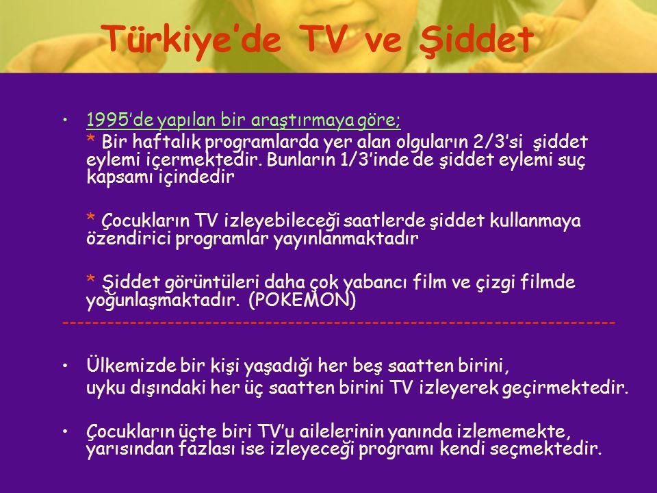 Türkiye'de TV ve Şiddet 1995'de yapılan bir araştırmaya göre; * Bir haftalık programlarda yer alan olguların 2/3'si şiddet eylemi içermektedir. Bunlar