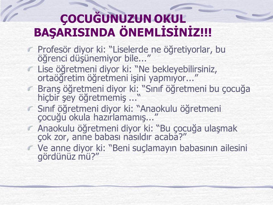 ÇOCUĞUNUZUN OKUL BAŞARISINDA ÖNEMLİSİNİZ!!.