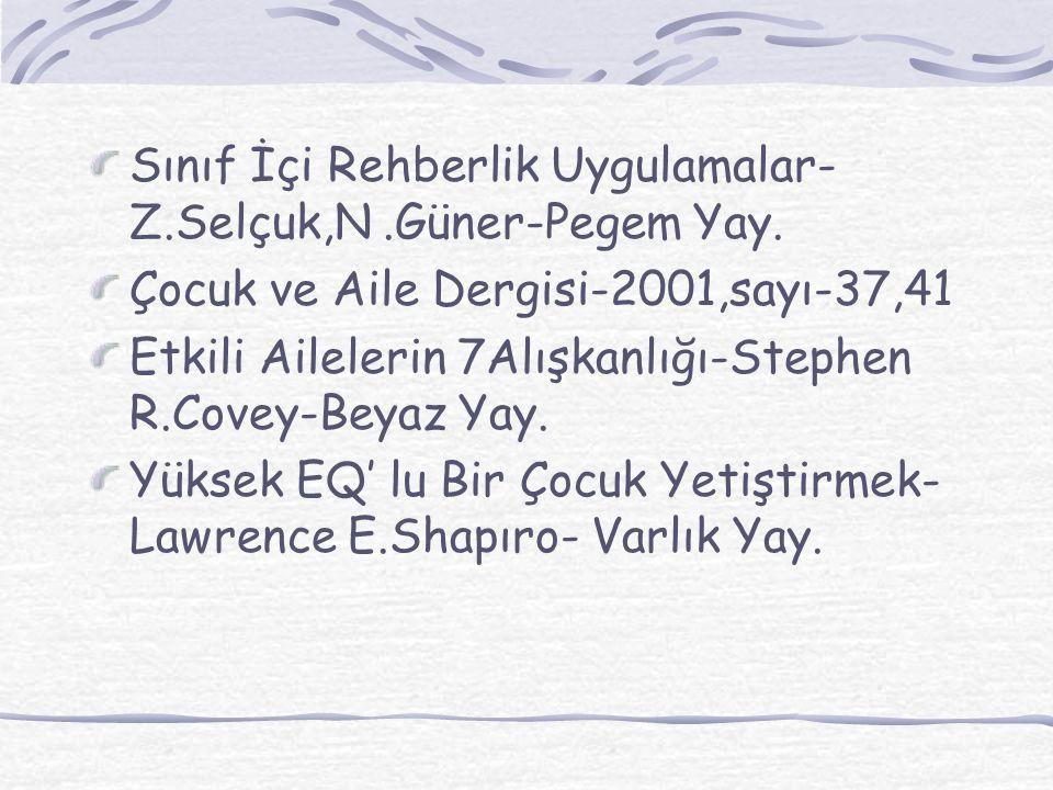 Sınıf İçi Rehberlik Uygulamalar- Z.Selçuk,N.Güner-Pegem Yay.