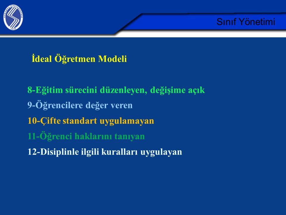 Sınıf Yönetimi İdeal Öğretmen Modeli 8-Eğitim sürecini düzenleyen, değişime açık 9-Öğrencilere değer veren 10-Çifte standart uygulamayan 11-Öğrenci ha