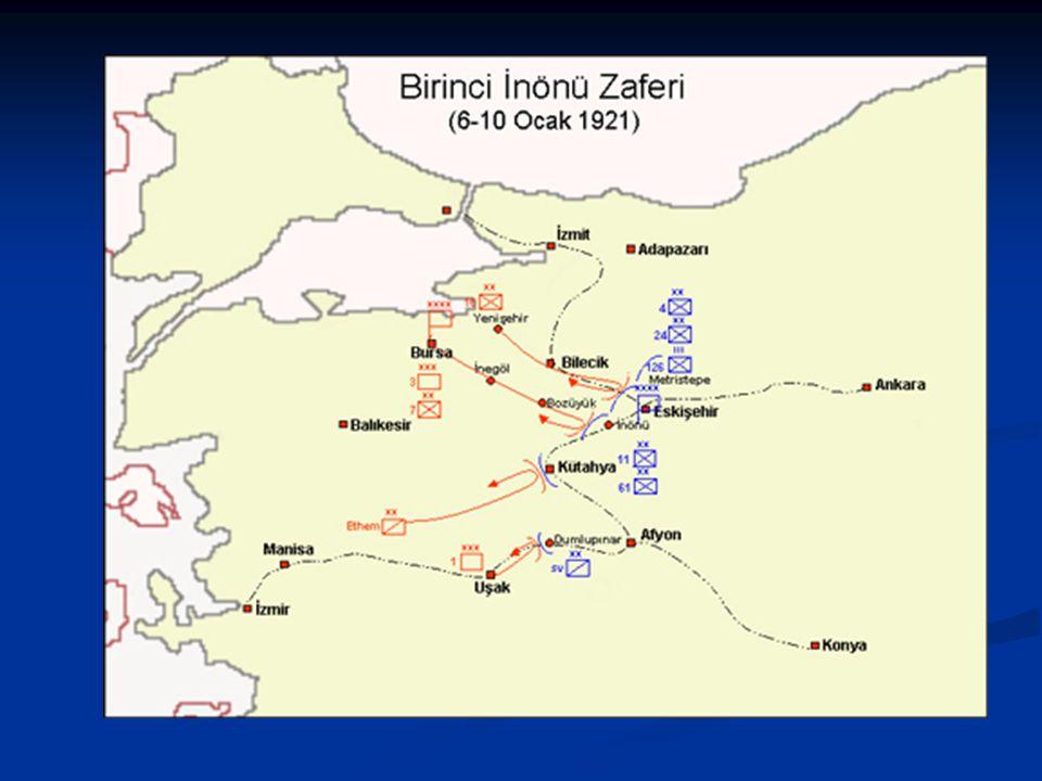 C-Batı Cephesi I.İnönü Muharebesi (6-10 Ocak) I.İnönü Muharebesi (6-10 Ocak) 6 Ocakta kuzeyden ilerlemeye başlayan ve güneyde Kütahya taraflarında Çer