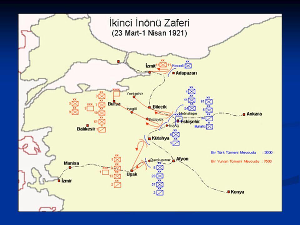 II.İnönü Muharebesi ( 23-31 Mart ) II.İnönü Muharebesi ( 23-31 Mart ) I. İnönü Muharebesi'nden sonuç alamayan Yunanlılar, Londra Konferansı'ndan bir s