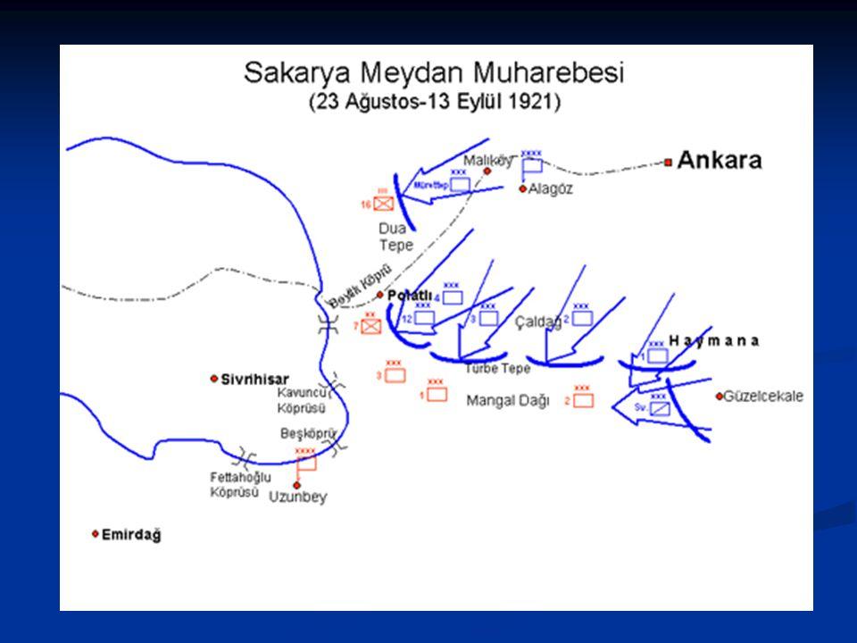 Sakarya Meydan Muharebesi (23 Ağustos-13 Eylül 1921) Mustafa Kemal'in orduyu Sakarya ırmağının doğusuna çekmesi TBMM'nde tartışmalara yol açmış, hatta