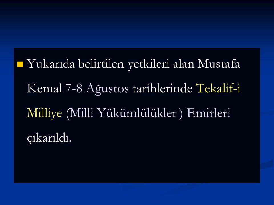 Mustafa Kemal Meclise gelerek bütün sorumlulukları üzerine almış ve Meclisten üç aylık süre ile Başkomutanlık ve Meclisin bütün yetkilerini istedi. 5