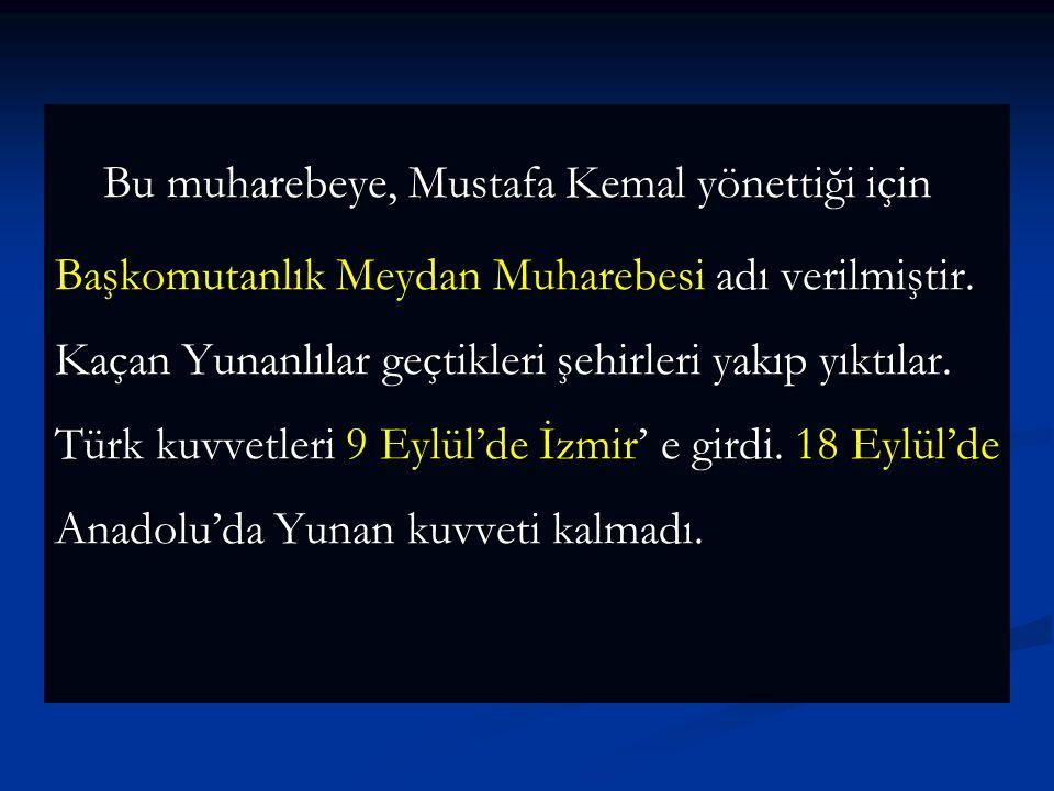 Türk ordusu 26 Ağustos sabahı top atışları ile birlikte taarruza başladı. Afyon istikametinde gelişen Türk taarruzu sonucunda Yunan kuvvetleri 30 Ağus