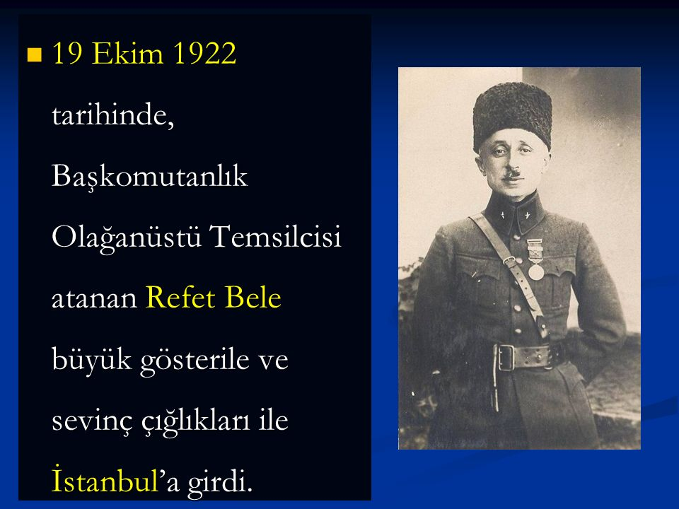 İtilaf Devletleri bu bölgede devir teslim işleri için 7 taburluk bir kuvvet bulunduracaktı. Bu birlik Doğu Trakya'nın Türklere teslim edilmesinden 30