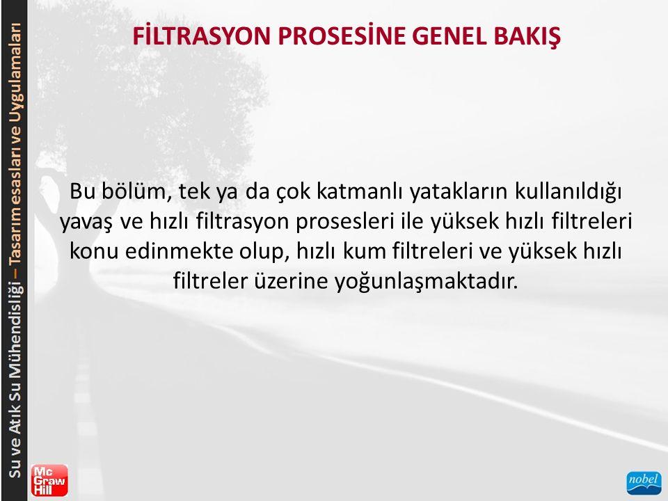 FİLTRASYON PROSESİNE GENEL BAKIŞ Bu bölüm, tek ya da çok katmanlı yatakların kullanıldığı yavaş ve hızlı filtrasyon prosesleri ile yüksek hızlı filtre