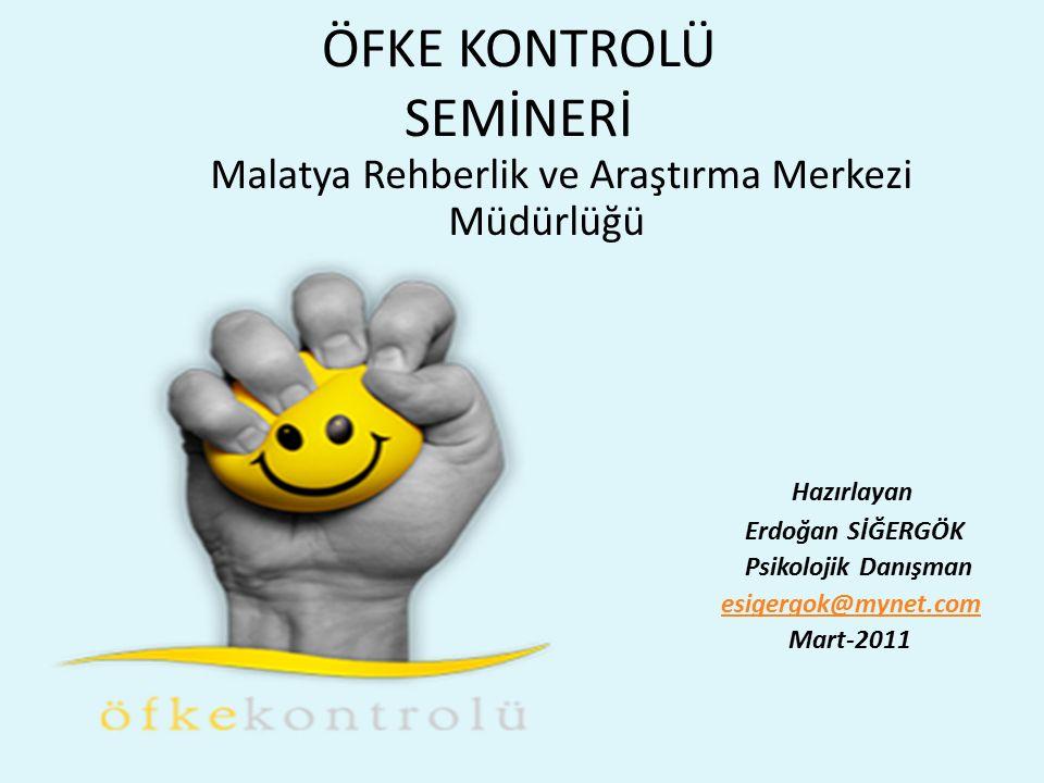 ÖFKE KONTROLÜ SEMİNERİ Malatya Rehberlik ve Araştırma Merkezi Müdürlüğü Hazırlayan Erdoğan SİĞERGÖK Psikolojik Danışman esigergok@mynet.com Mart-2011