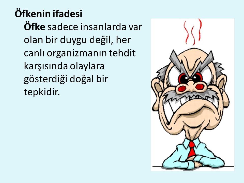 Öfkenin ifadesi Öfke sadece insanlarda var olan bir duygu değil, her canlı organizmanın tehdit karşısında olaylara gösterdiği doğal bir tepkidir.