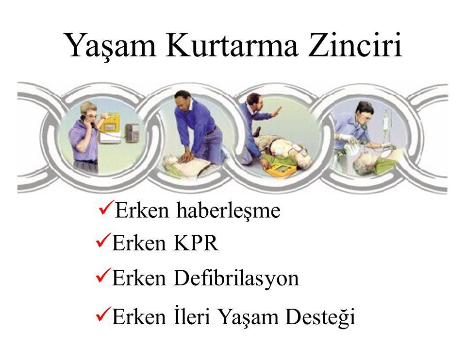 Yaşam Kurtarma Zinciri Erken haberleşme Erken KPR Erken Defibrilasyon Erken İleri Yaşam Desteği