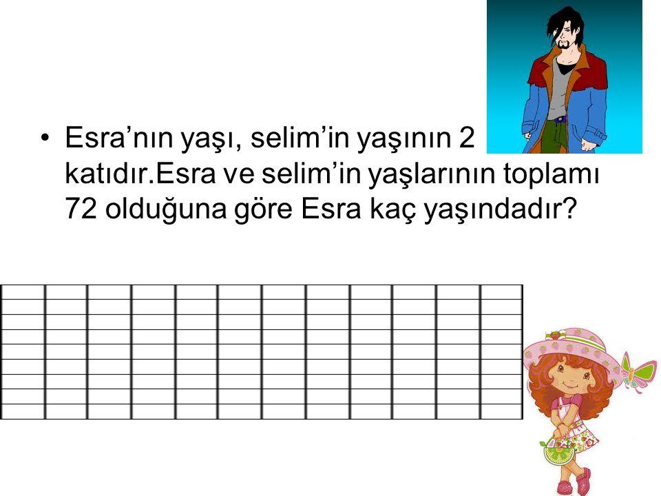 Esra'nın yaşı, selim'in yaşının 2 katıdır.Esra ve selim'in yaşlarının toplamı 72 olduğuna göre Esra kaç yaşındadır?