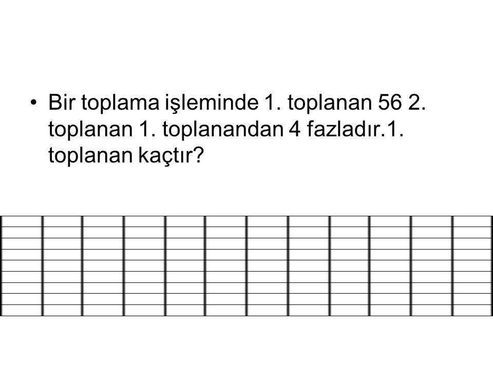 Bir toplama işleminde 1. toplanan 56 2. toplanan 1. toplanandan 4 fazladır.1. toplanan kaçtır?