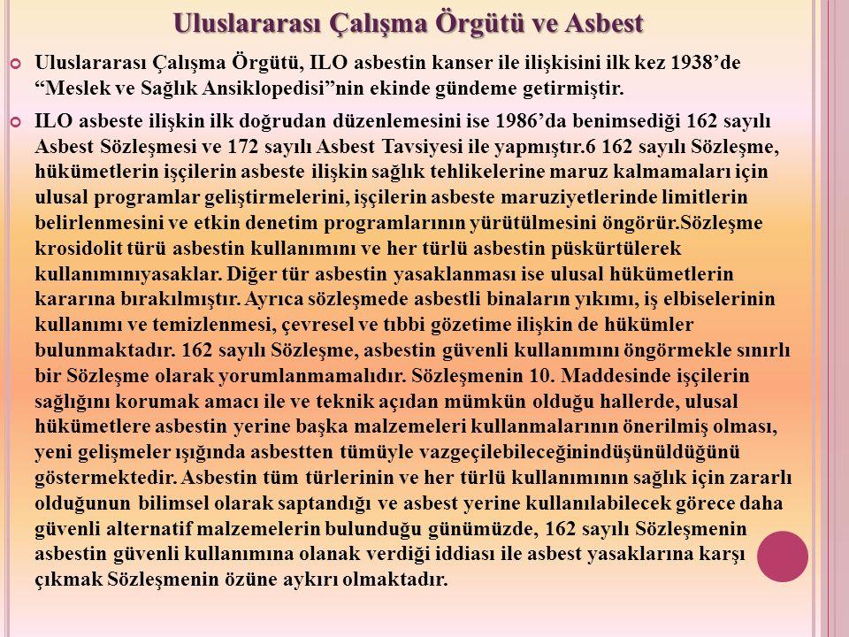"""Uluslararası Çalışma Örgütü, ILO asbestin kanser ile ilişkisini ilk kez 1938'de """"Meslek ve Sağlık Ansiklopedisi""""nin ekinde gündeme getirmiştir. ILO as"""