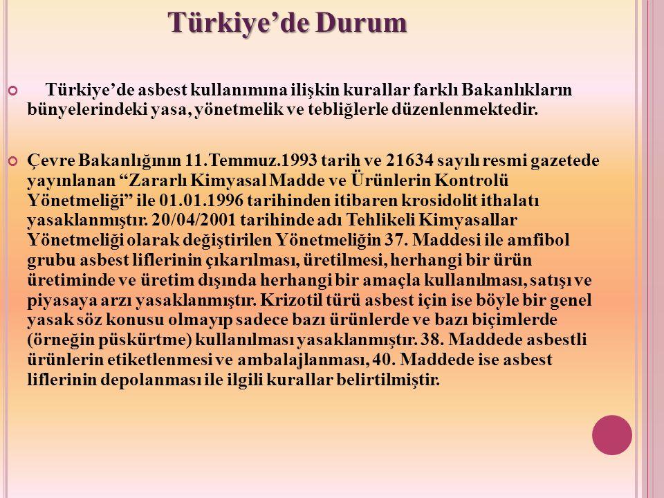Türkiye'de asbest kullanımına ilişkin kurallar farklı Bakanlıkların bünyelerindeki yasa, yönetmelik ve tebliğlerle düzenlenmektedir. Çevre Bakanlığını