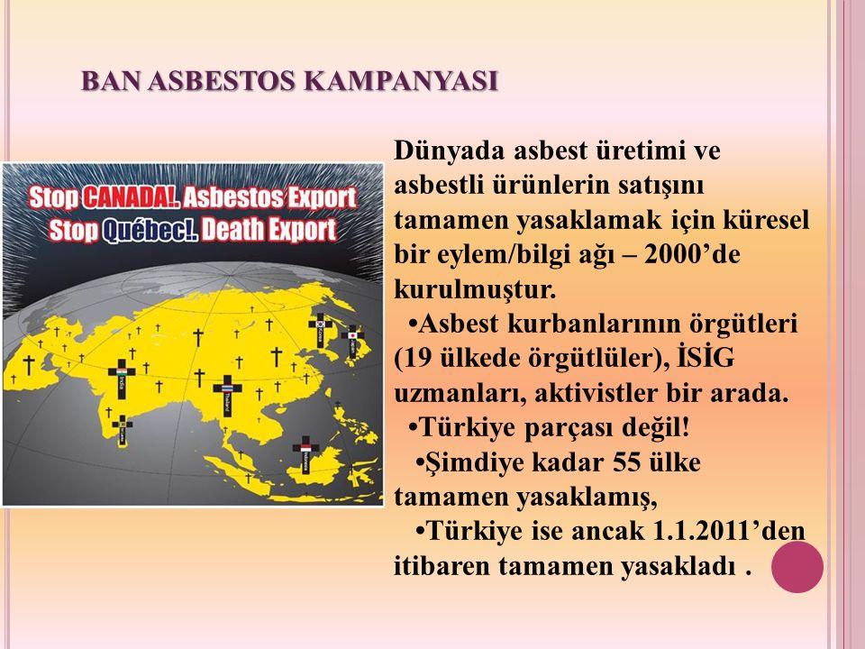 BAN ASBESTOS KAMPANYASI Dünyada asbest üretimi ve asbestli ürünlerin satışını tamamen yasaklamak için küresel bir eylem/bilgi ağı – 2000'de kurulmuştu