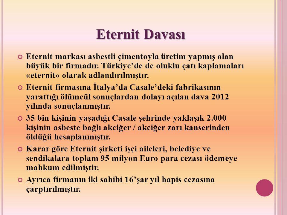 Eternit markası asbestli çimentoyla üretim yapmış olan büyük bir firmadır. Türkiye'de de oluklu çatı kaplamaları «eternit» olarak adlandırılmıştır. Et