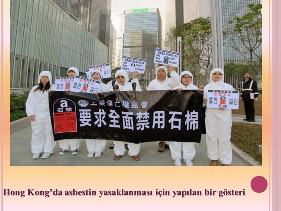Hong Kong'da asbestin yasaklanması için yapılan bir gösteri
