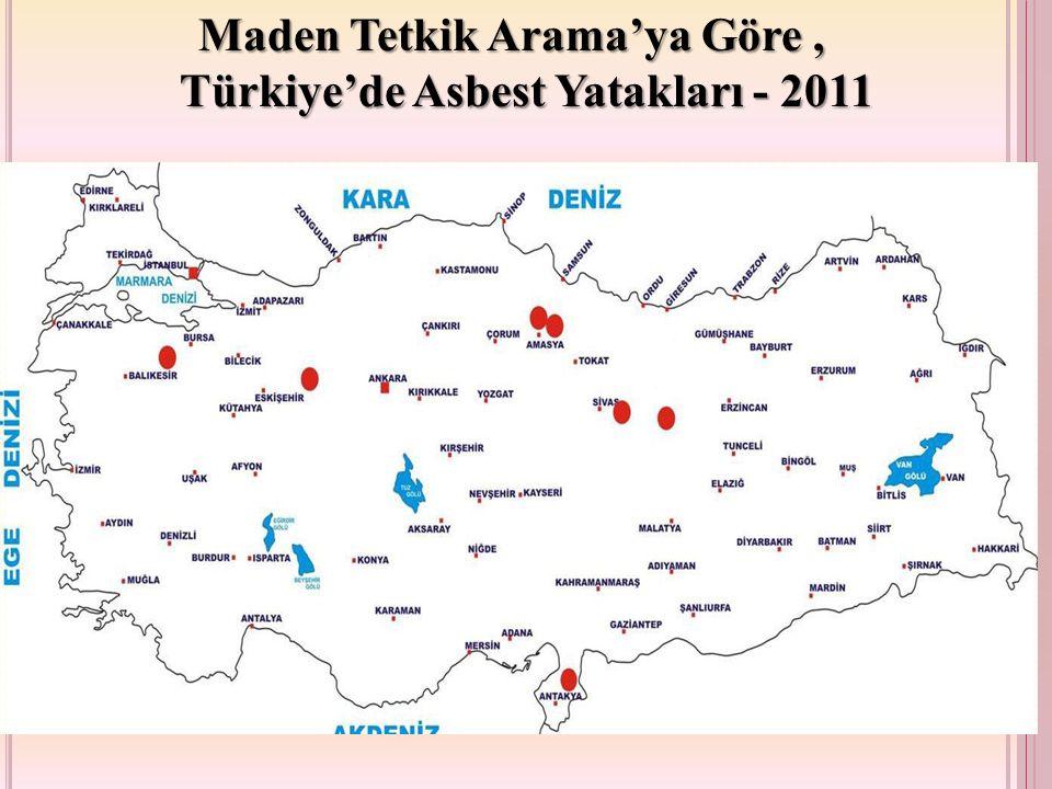 Maden Tetkik Arama'ya Göre, Türkiye'de Asbest Yatakları - 2011