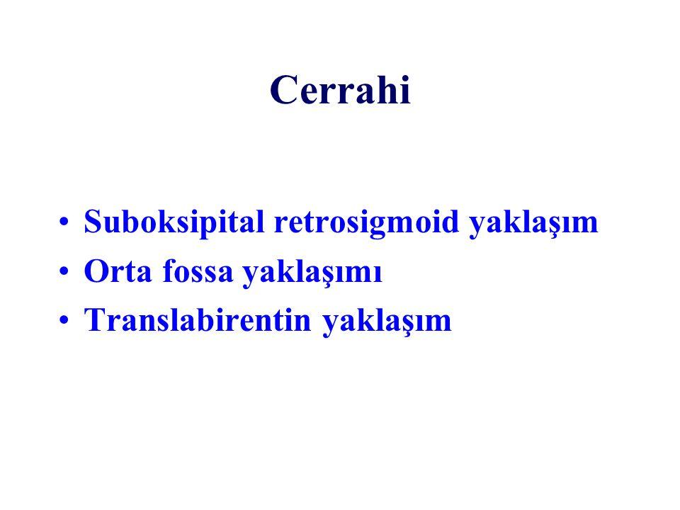 Cerrahi Suboksipital retrosigmoid yaklaşım Orta fossa yaklaşımı Translabirentin yaklaşım
