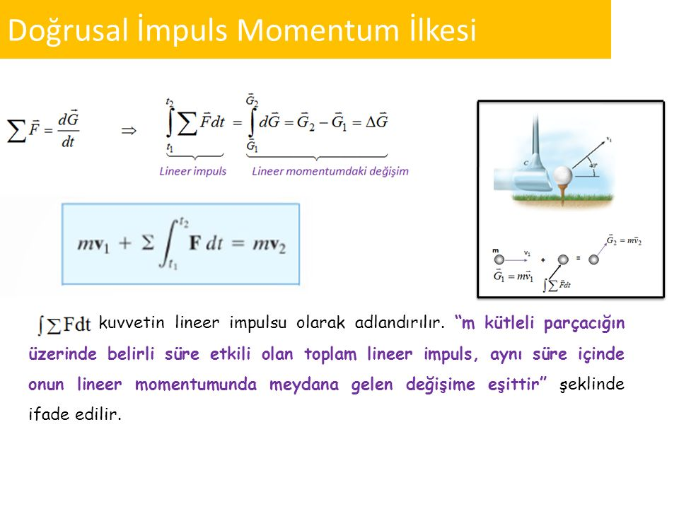 """Doğrusal İmpuls Momentum İlkesi kuvvetin lineer impulsu olarak adlandırılır. """"m kütleli parçacığın üzerinde belirli süre etkili olan toplam lineer imp"""