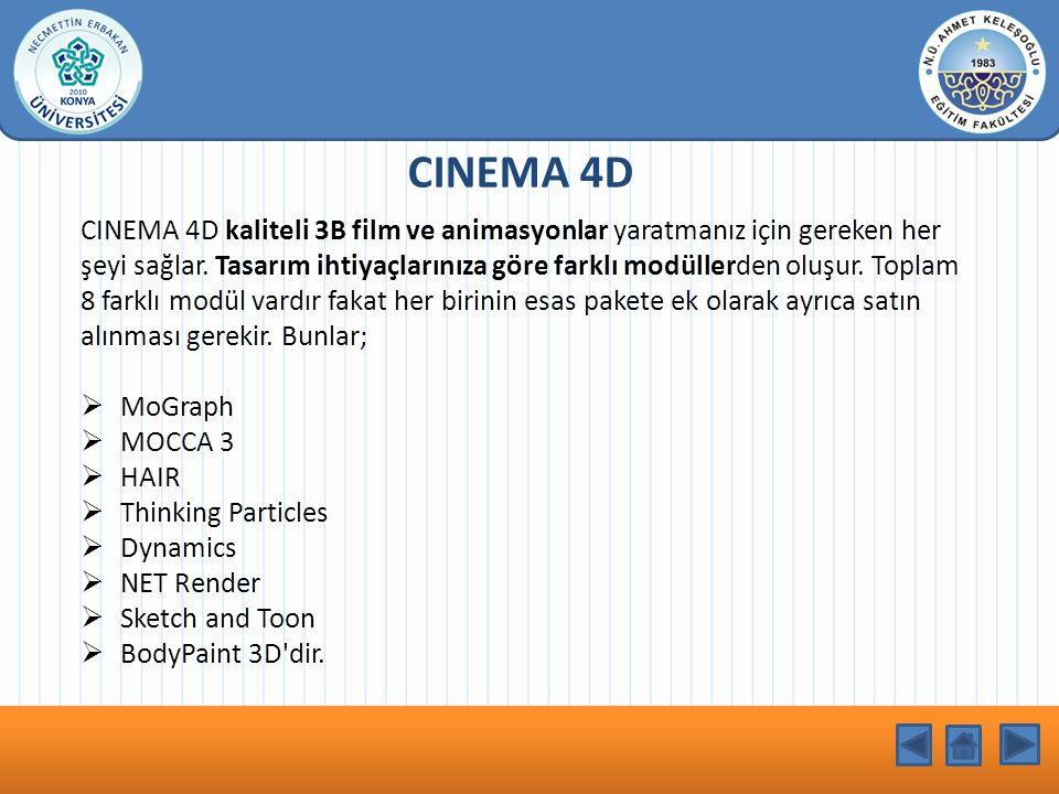 KONU BAŞLIĞI CINEMA 4D CINEMA 4D kaliteli 3B film ve animasyonlar yaratmanız için gereken her şeyi sağlar.