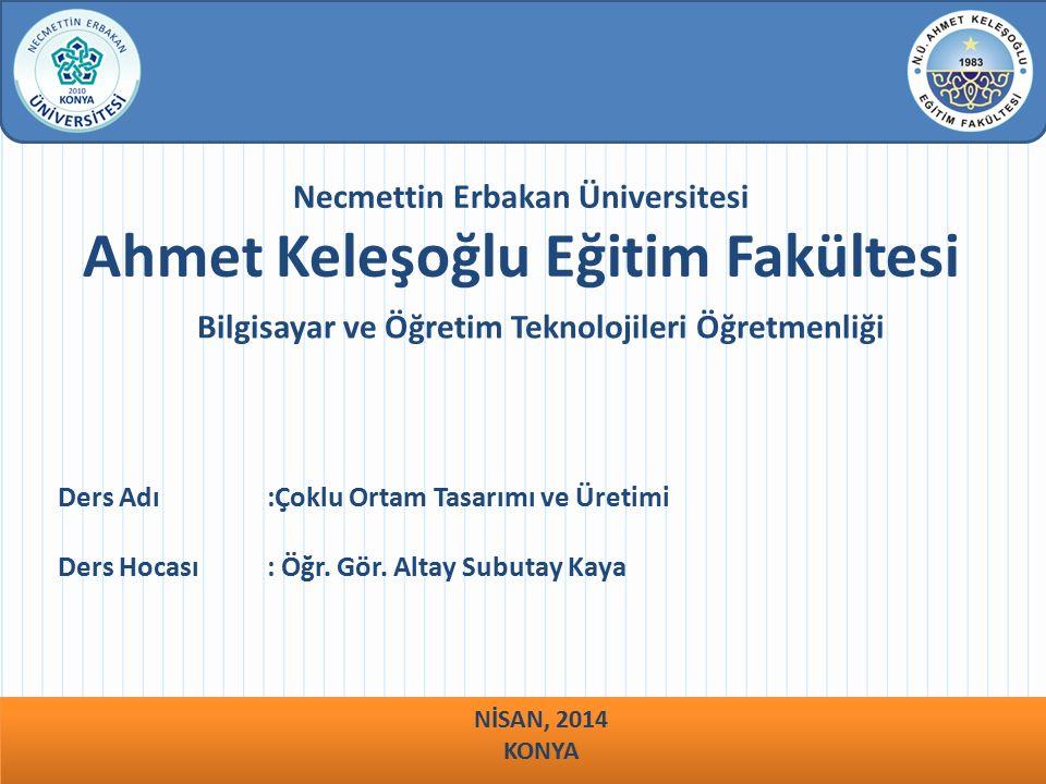 Necmettin Erbakan Üniversitesi Ahmet Keleşoğlu Eğitim Fakültesi Bilgisayar ve Öğretim Teknolojileri Öğretmenliği Ders Adı :Çoklu Ortam Tasarımı ve Üretimi Ders Hocası : Öğr.