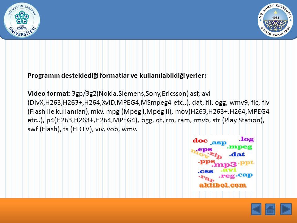 KONU BAŞLIĞI Programın desteklediği formatlar ve kullanılabildiği yerler: Video format: 3gp/3g2(Nokia,Siemens,Sony,Ericsson) asf, avi (DivX,H263,H263+,H264,XviD,MPEG4,MSmpeg4 etc..), dat, fli, ogg, wmv9, flc, flv (Flash ile kullanılan), mkv, mpg (Mpeg I,Mpeg II), mov(H263,H263+,H264,MPEG4 etc..), p4(H263,H263+,H264,MPEG4), ogg, qt, rm, ram, rmvb, str (Play Station), swf (Flash), ts (HDTV), viv, vob, wmv.